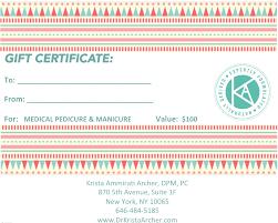 gift certificate cal pedicure and manicure