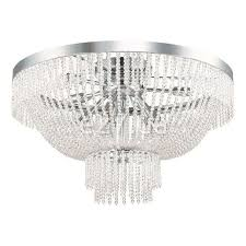 traditional ceiling light round crystal chromed metal augustus