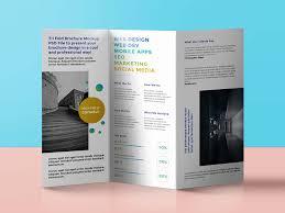 Standing Tri Fold Brochure Mockup Psd