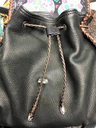 custom leather bags custom tooled knapsacks custom knapsack on drawstring closure