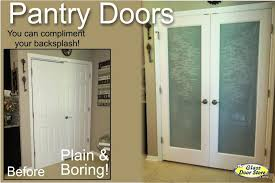 frosted double pantry doors with etched barn door diy design