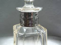 lovely antique cut glass crystal perfume bottle with solid silver collar 1909 10