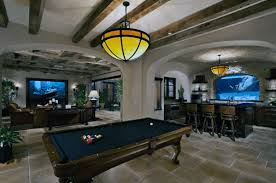basement. Traditional Basement Design With Swimming Pool Window At Bar