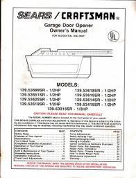 craftsman garage door opener 1 2 hp manual fluidelectric chamberlain