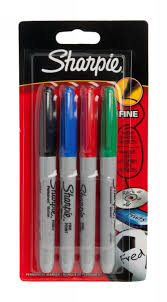 sharpie pens. sharpie permanent markers, assorted ink (pack of 4) pens