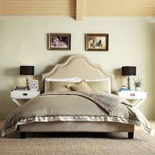 Fletcher Linen Nailhead Arch Curved Upholstered Full Bed by Inspire Q  (Platform Bed- Beige