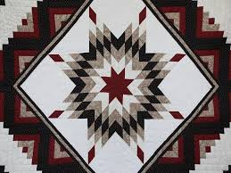 Lone Star Log Cabin Quilt -- wonderful carefully made Amish Quilts ... & ... Black and Burgundy Lone Star Log Cabin Quilt Photo 3 ... Adamdwight.com