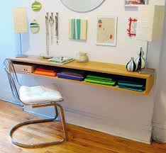 a floating desk perfect for along the wall at an apartment when there s no space for a bulky desk remember in small spaces every inch of wall is your