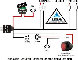com 1 40 amp universal wiring harness for off road led light bars relay on off switch and led work light lamps atv utv truck suv polaris razor