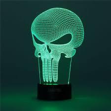 punisher skull home decor night light