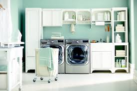 Interior:Seamless White Laundry Room Design With Fiberboard Storage Units  Also White Floor Laundry Room