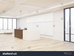 office reception interior. Side View Of Interior With Office Reception Desk, Wooden Floor, Concrete Wall, Ceiling H