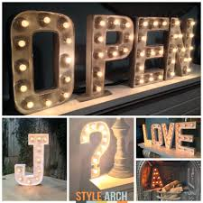 letter wall lights marquee to install on reclaimed shelves over kitchen  cabinetry