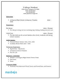College Application Resume Examples For High School Seniors College