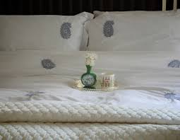 hand embroidered grey paisleys on white cotton duvet cover king size 102x98