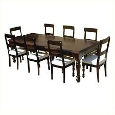 american acacia wood dining table leather upholstered chairs round dining table with leather chairs