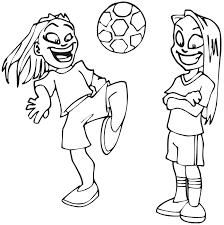 Due Ragazze Giocano A Calcio Immagini Da Colorare Gratis Disegni