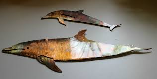 dolphin pair copper bronze wall art on copper dolphin wall art with dolphin pair metal wall art