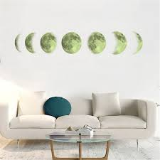 glow in the dark moon phases wall decal