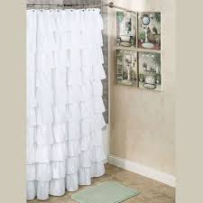 Appealing White Ruffled Shower Curtain Ideas Bathroom Shower ...