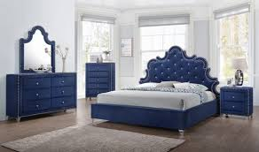 Meridian Bedroom Furniture Caroline Bedroom Set In Navy Velvet By Meridian Furniture Get