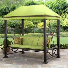 3 person outdoor swing gazebo covered patio deck porch garden canopy with top cover brown