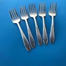 silverplate 4 salad forks laurel