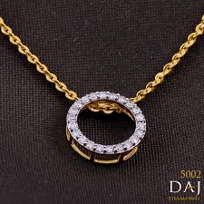 0 30 ct round certified diamond circle pendant 14k gold