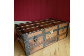 vintage steamer trunk coffee table storage chest rustic wooden travel trunk photo 1