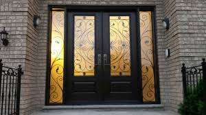 front entry wrought iron woodgrain fiberglass double doors with 2 side lites installed in thornhill