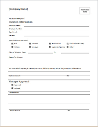 pto request template employee time off request form employee vacation request form