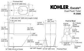 kohler k 3588 escale toilet dimension