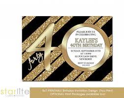 40th Birthday Invitations 40th Birthday Invitation Milestone Birthday Modern Number Black Gold Glitter Glitzy Glam Unique