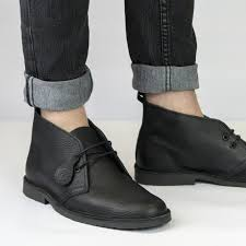 original uni leather desert boots black