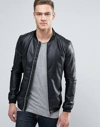 pull bear au pull bear faux leather er jacket with perforated sleeves men black