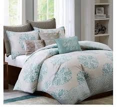 Master Bedroom Ideas   Mirna Turquoise And Grey Comforter Set