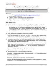 Main Inquiry Documents Analysis Chart Answer Key Copy Of Spanish American War Inquiry Graphic Organizer Amp