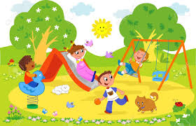 playing cartoon playground cartoon illustration of kids playing together at