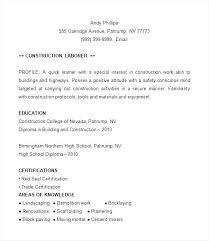 Remarkable Design Construction Laborer Resume Laborer Resume Sample