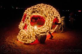 burning man, skull art car, christmas lights
