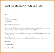 Resign Template Sample Of Resignation Letter Simple Resignation Letter Newfangled