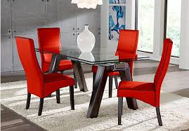 Red dining table set Dining Chairs Picture Of The Encino Dining Room Set Furniturecom Red White Black Dining Room Furniture Ideas Decor