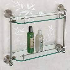 Amazon Com Signature Hardware 916696 Ballard 19 1 4 Glass Bathroom Shelf Home Kitchen