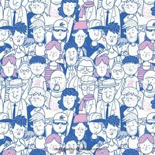 People Pattern Adorable Colorful People Pattern With Hand Drawn Style Vector Free Download
