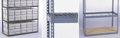 industrial storage has new and used boltless or rivet style shelving boltless shelving utilizes a steel support structure generally with 5 8 particle