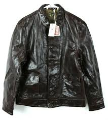 details about nwt 995 menlo cossack levi s vintage italy brown leather jacket einstein mens m