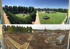 panoramic views of the minneapolis sculpture garden taken prior to construction and during construction