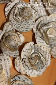 antique book page handmade large spiral paper flowers
