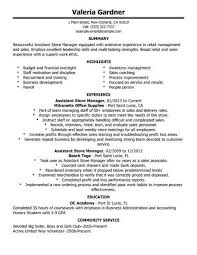 Manager Resume Examples Interesting Assistant Store Manager R Resume Cover Letter Example Retail Manager