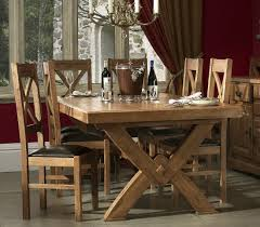 Oak Chairs For Kitchen Table Chateau X Leg Solid Oak Dining Table Oak Furniture Uk